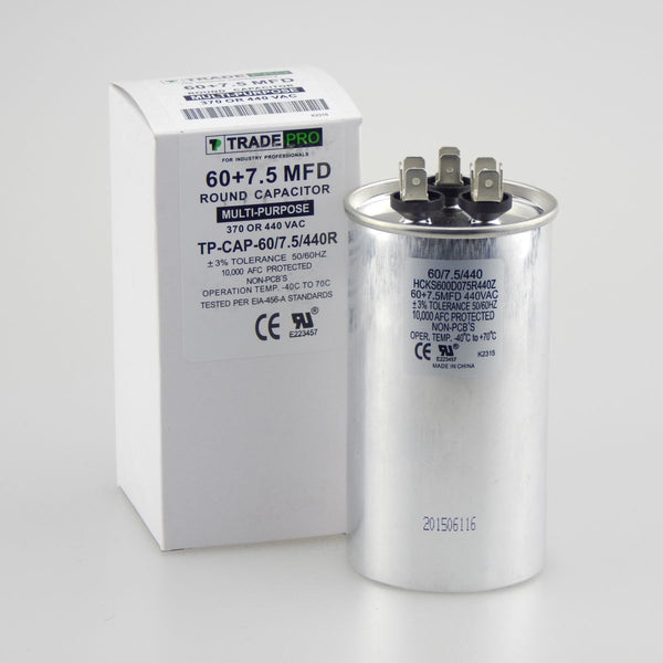 diy-appliance-hvac-parts,TRADEPRO - TP-CAP-60/7.5/440R 60+7.5 MFD 440V Round Run Capacitor,Carrier,Capacitor