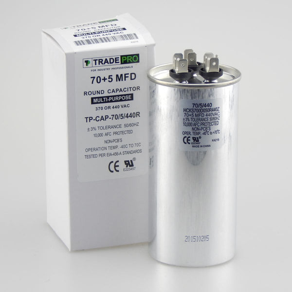 diy-appliance-hvac-parts,TRADEPRO - TP-CAP-70/5/440R 70+5 MFD 440V Round Run Capacitor,Carrier,Capacitor