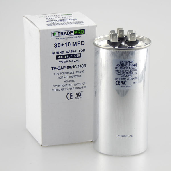 diy-appliance-hvac-parts,TRADEPRO - TP-CAP-80/10/440R 80+10 MFD 440 Volt Round Run Capacitor,Carrier,Capacitor