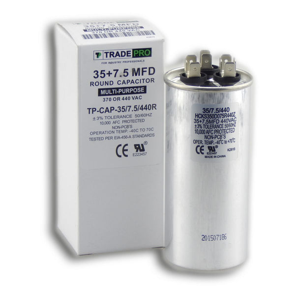 diy-appliance-hvac-parts,TRADEPRO - TP-CAP-35/7.5/440R 35+7.5 MFD 440V Round Run Capacitor,Carrier,Capacitor
