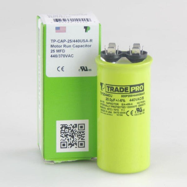 TRADEPRO - TP-CAP-25/440USA-R 25 MFD 440/370V Round Capacitor (Made in USA)