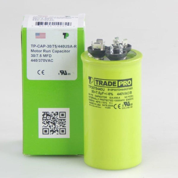 diy-appliance-hvac-parts,TRADEPRO® - TP-CAP-30/7.5/440USA-R 30/7.5 MFD 440/370V Round Capacitor (Made in USA),Carrier,Capacitor