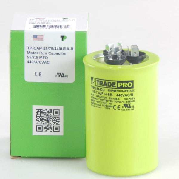 TRADEPRO - TP-CAP-55/7.5/440USA-R 55/7.5 MFD 440/370V Round Capacitor (Made in USA)