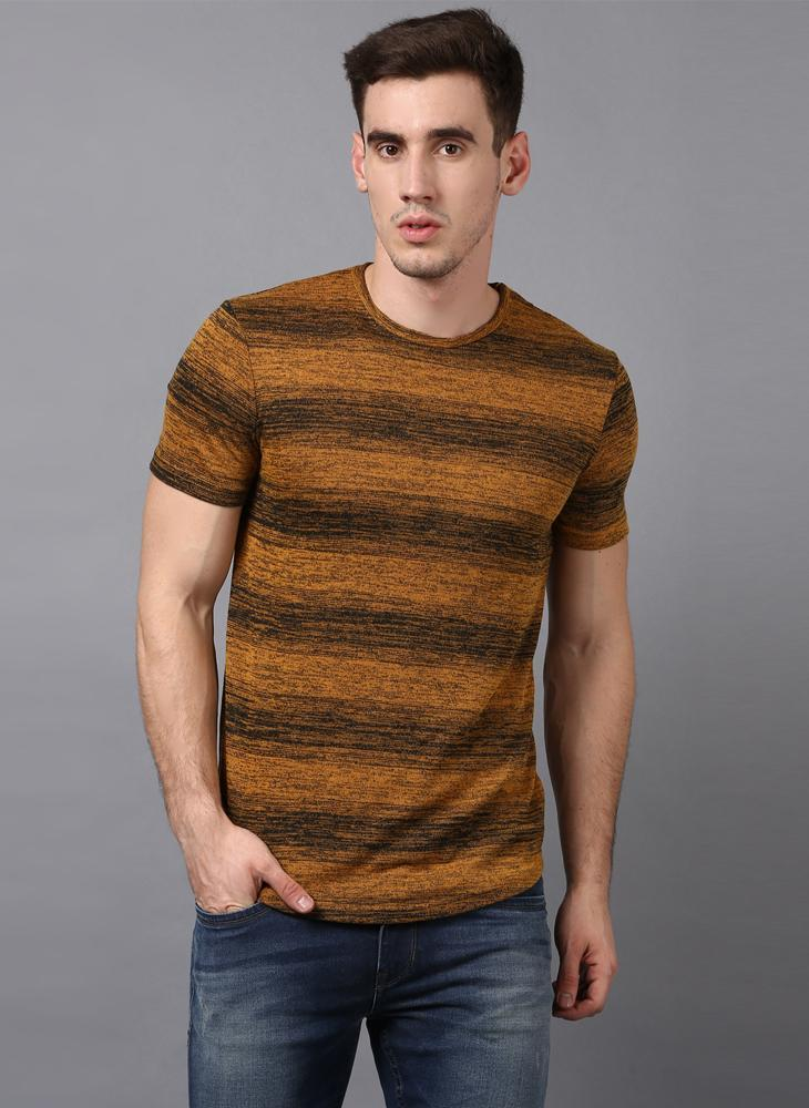 Mustard Yellow Contrast Stripe T-shirt