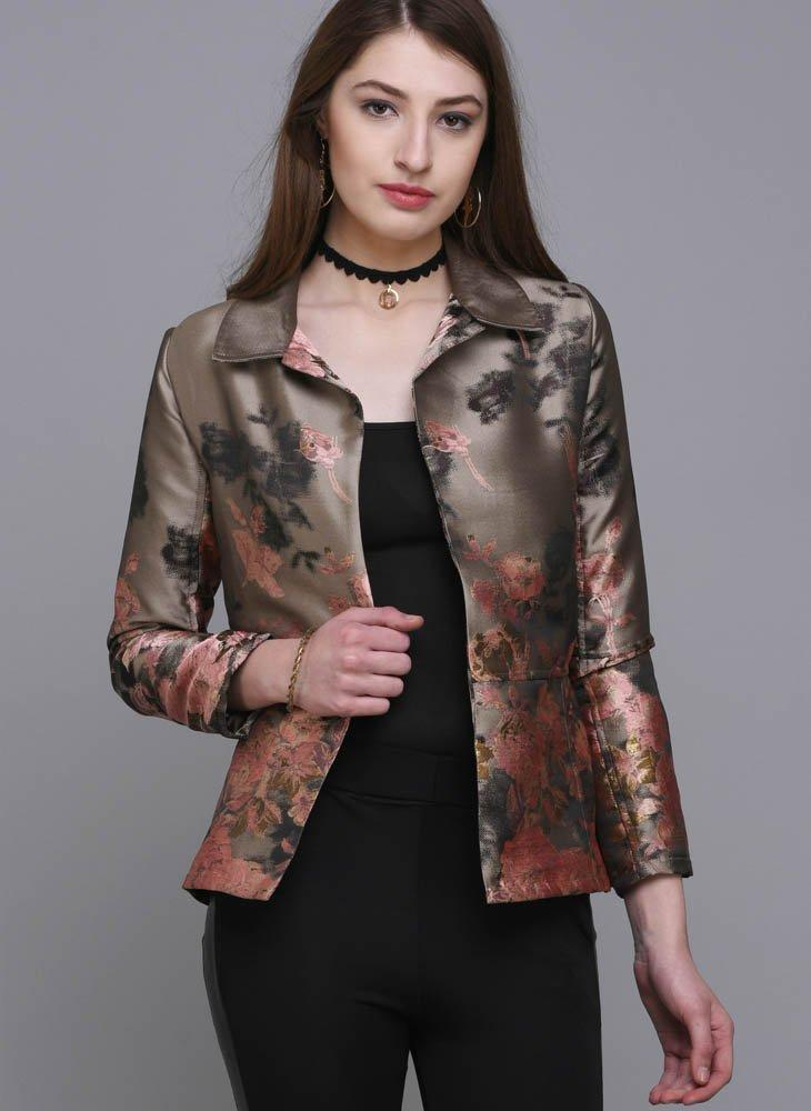 Floral Brocade Open-Front Jacket