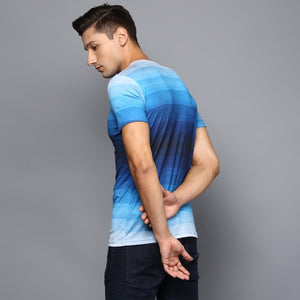 Blue Color Blocked Faded T-Shirt