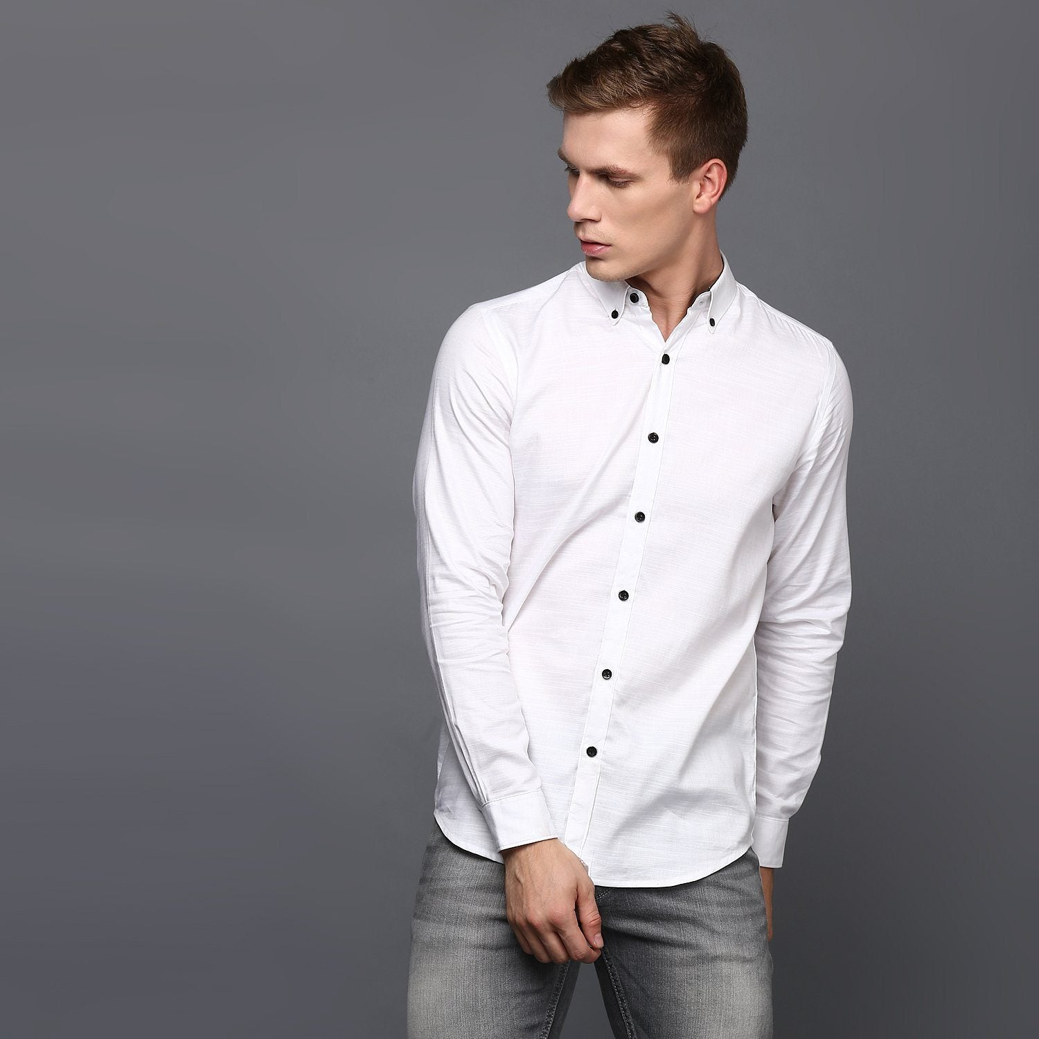White Pleated Cuff Men's Shirt