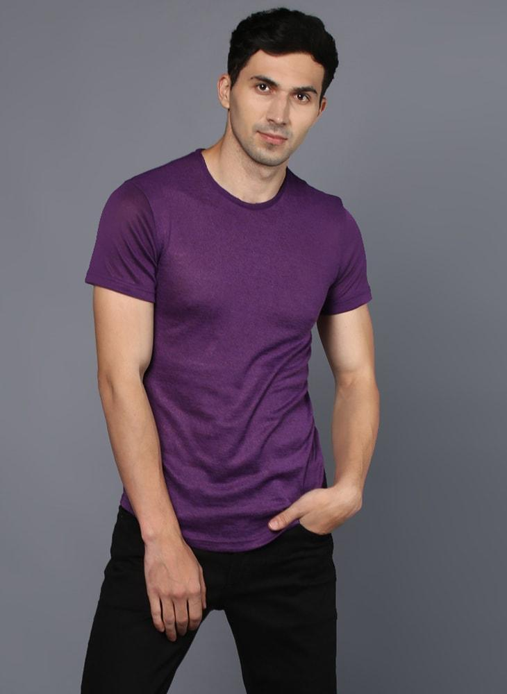 Basic Purple Crew Neck T-Shirt