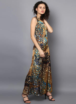 Satin Printed Full Length Dress with Front Slit