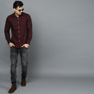 Wine Button Down Slim Fit Shirt