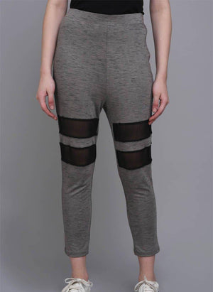 Melange Grey Mesh Insert Leggings