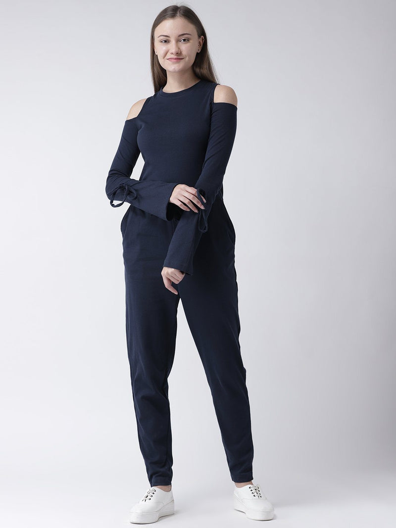 Navy Cold Shoulder Jumpsuit with Waist Tie-Up
