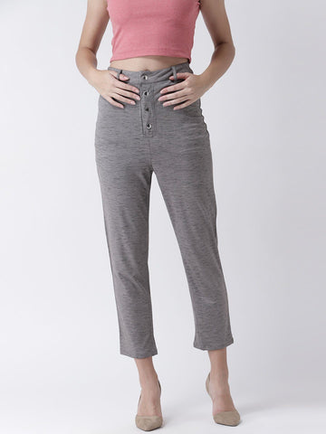 Dashed Grey High Waisted Trousers with Button detail