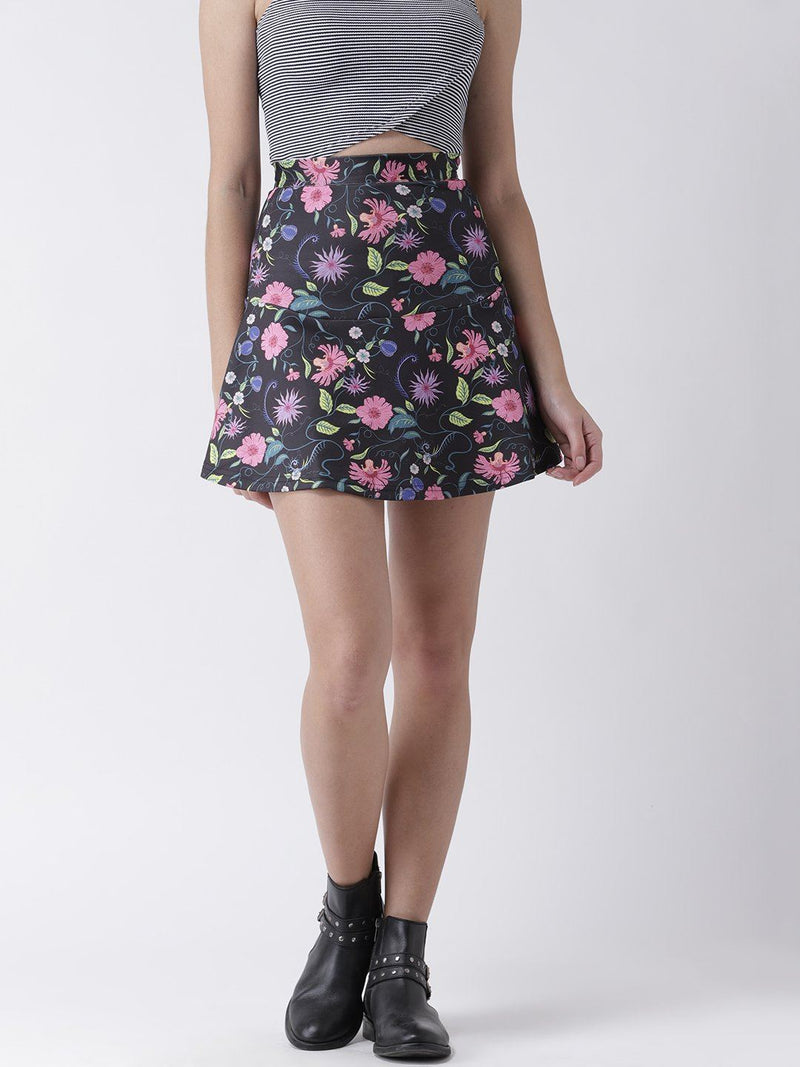 Flared Dark Floral Printed Mini Skirt