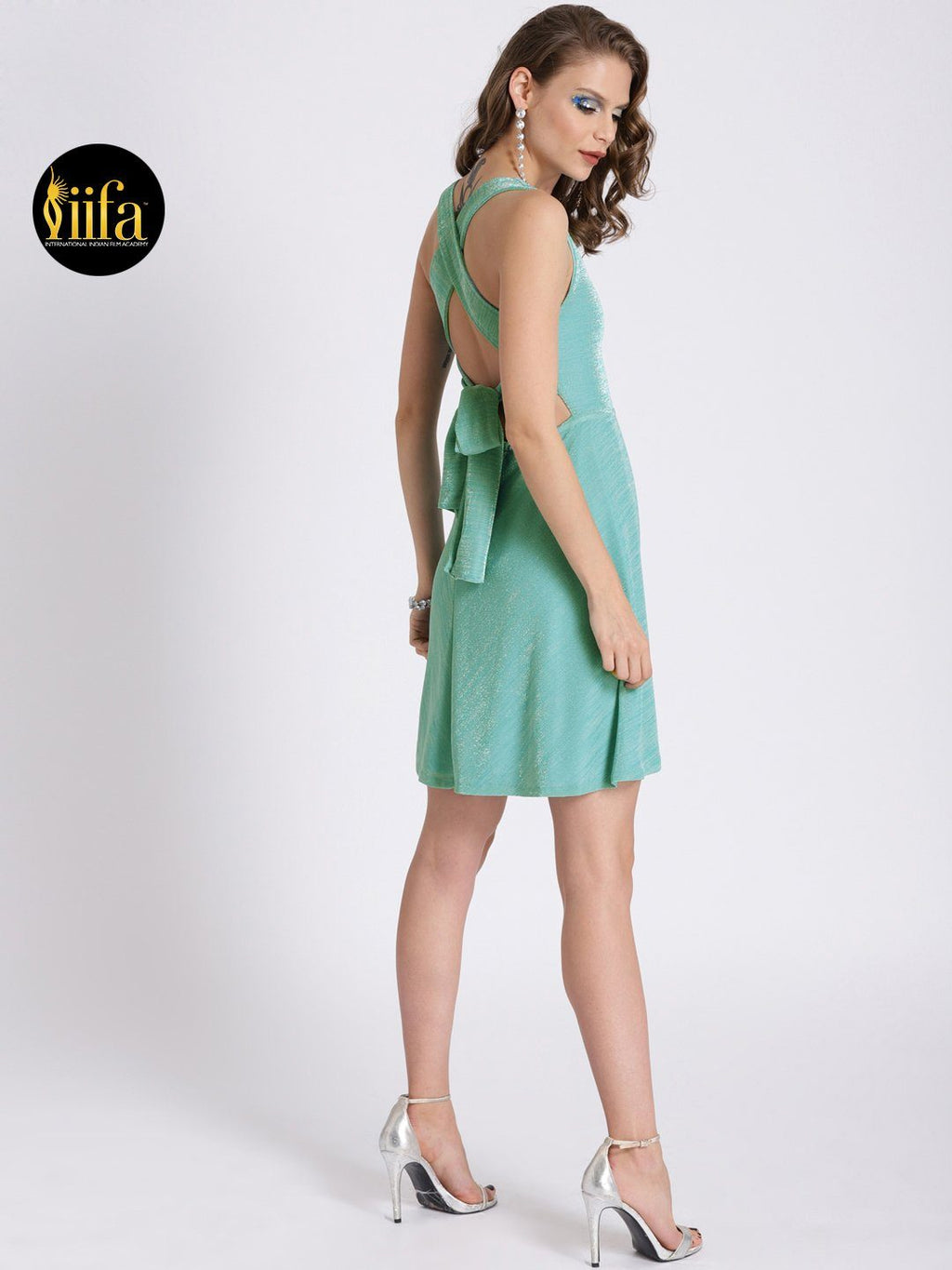 LIGHT GREEN FIT & FLARE DRESS