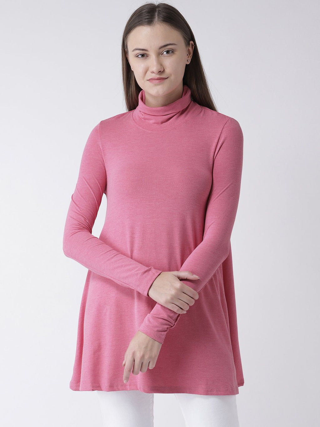 Pink Turtle Neck A-Line Dress
