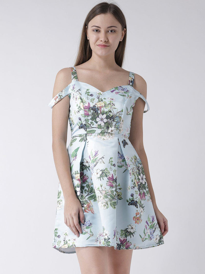 Pastel Blue Cold Shoulder Floral Printed Dress