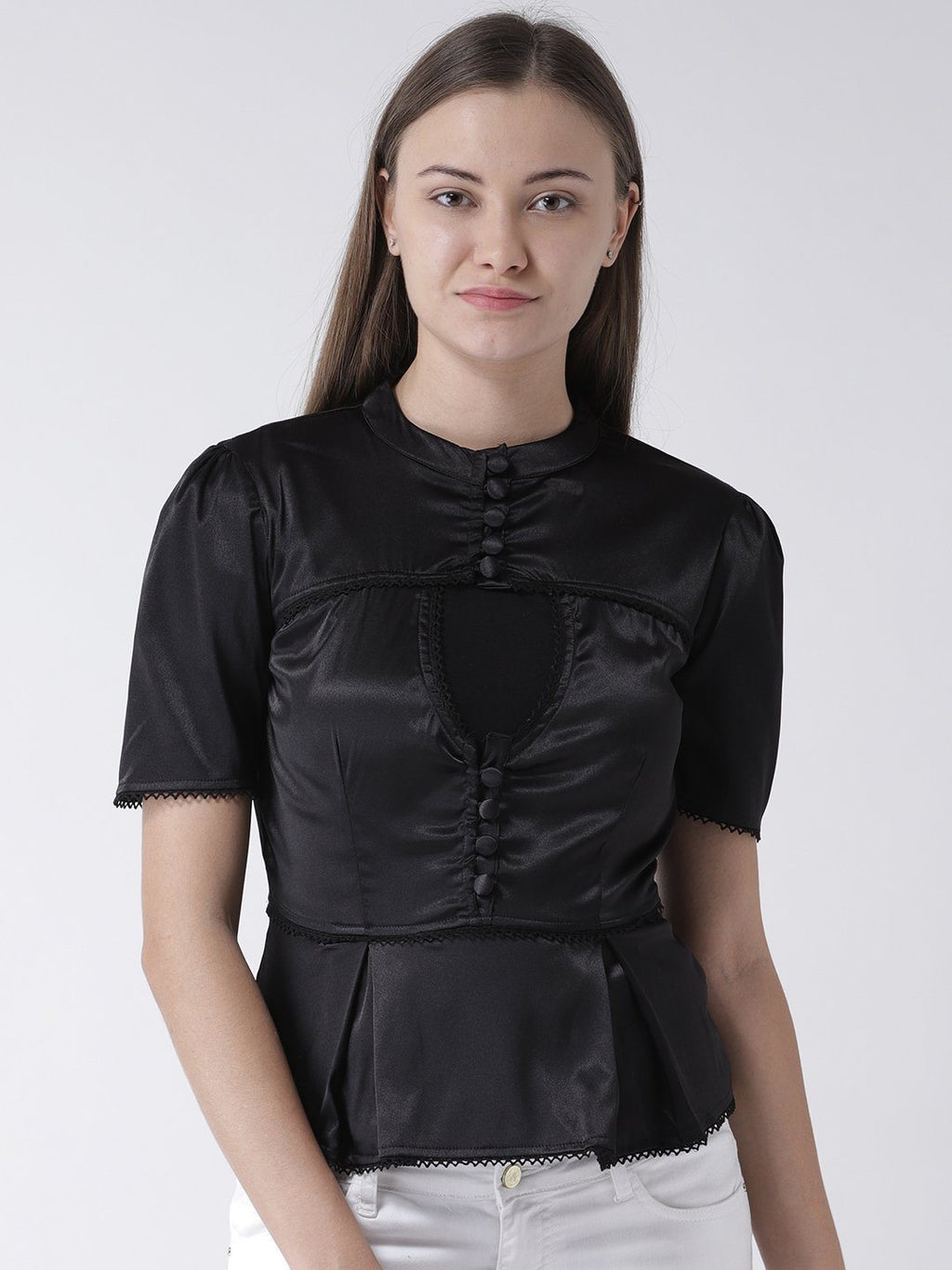 BLACK SATIN BLOUSE WITH LACE AND BUTTON DETAIL