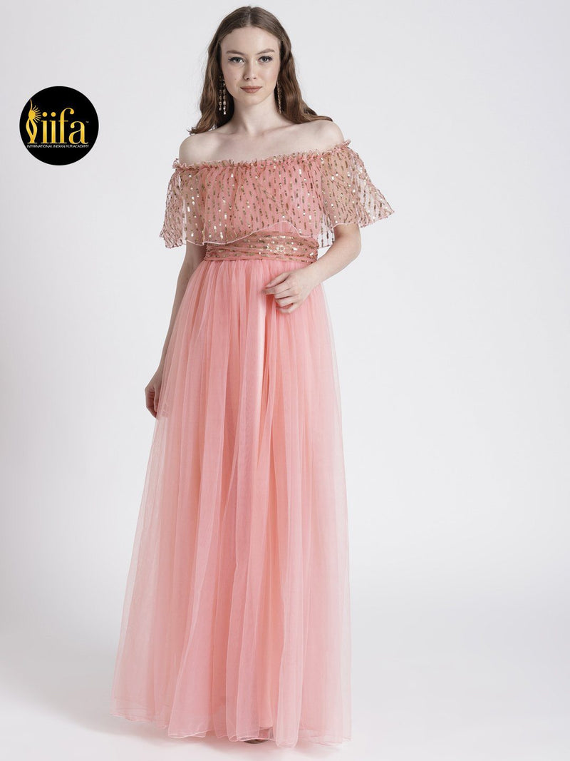LIGHT PINK OFF-SHOULDER GOWN WITH SHIMMER DETAIL