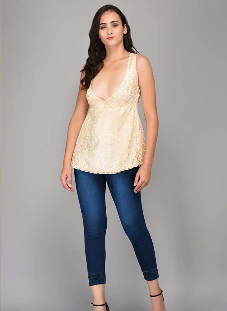 V-Neckline Beige Lace Top