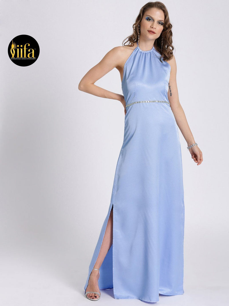 PASTEL BLUE HALTER NECK GOWN WITH SIDE SLIT