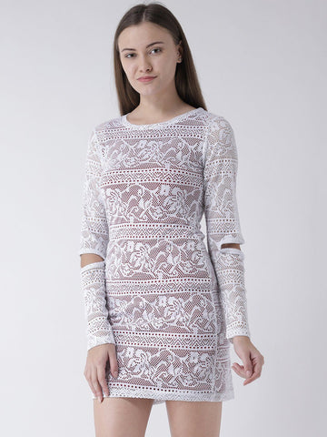 White Lace Dress with Elbow Cut-Out Detail