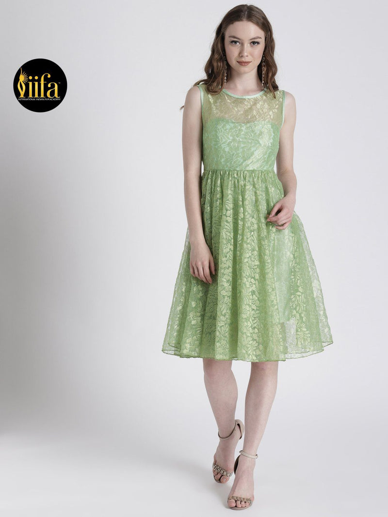 PASTEL GREEN FIT & FLARE DRESS IN LACE