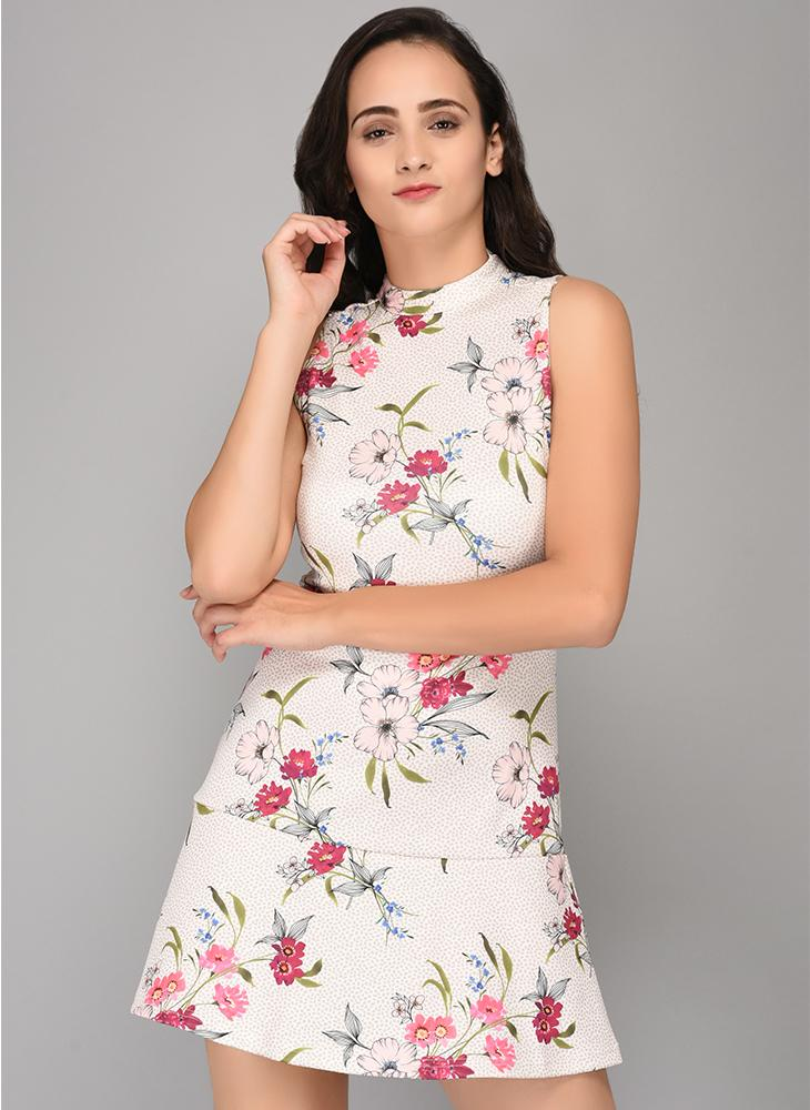 Printed Scuba Dress with Back Tie-Up detail