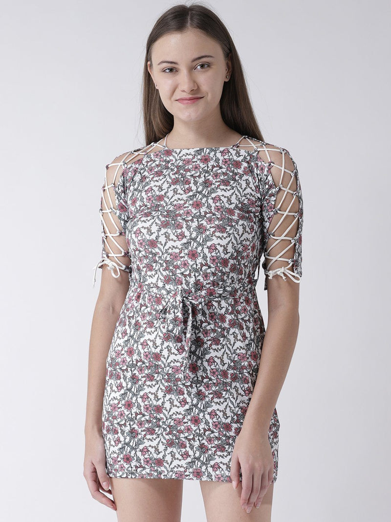 Floral Printed Tunic with Shoulder Tie-Up Detail