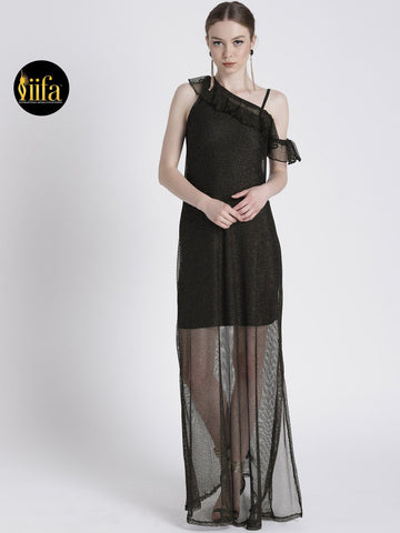 ONE SHOULDER BLACK & GOLD SHIMMER GOWN