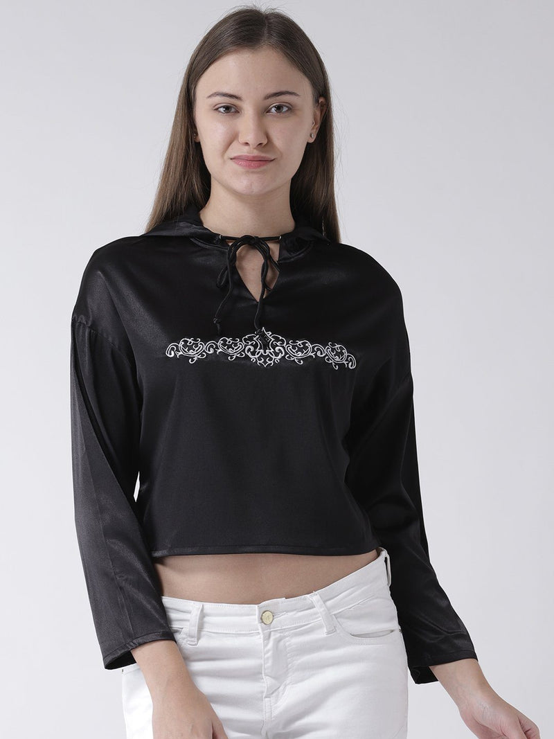 BLACK HOODIE WITH FRONT EMBROIDERY