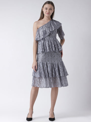 Grey Lace Dress with Added Flare & Ruffle