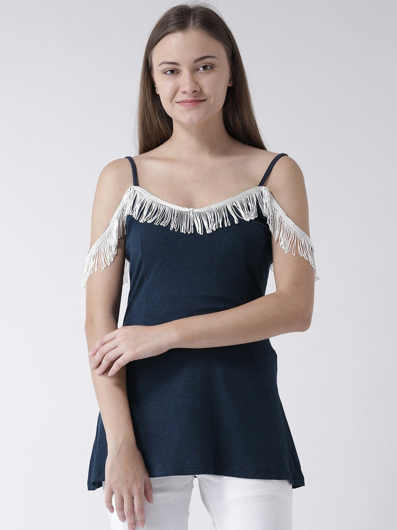 Navy Blue Cami Top with Fringed Neckline detail