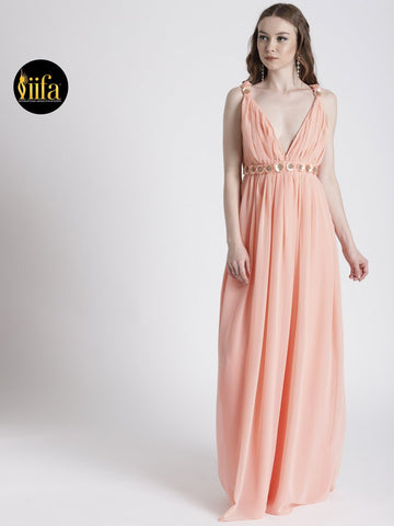 PEACH V-NECKLINE GOWN WITH BROOCH DETAIL