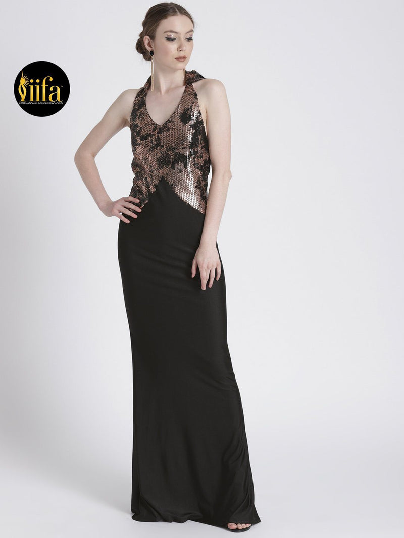 BLACK & GOLD GOWN WITH TORSO SHIMMER DETAIL