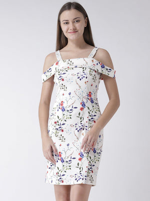 White Cold Shoulder Printed Dress in Scuba