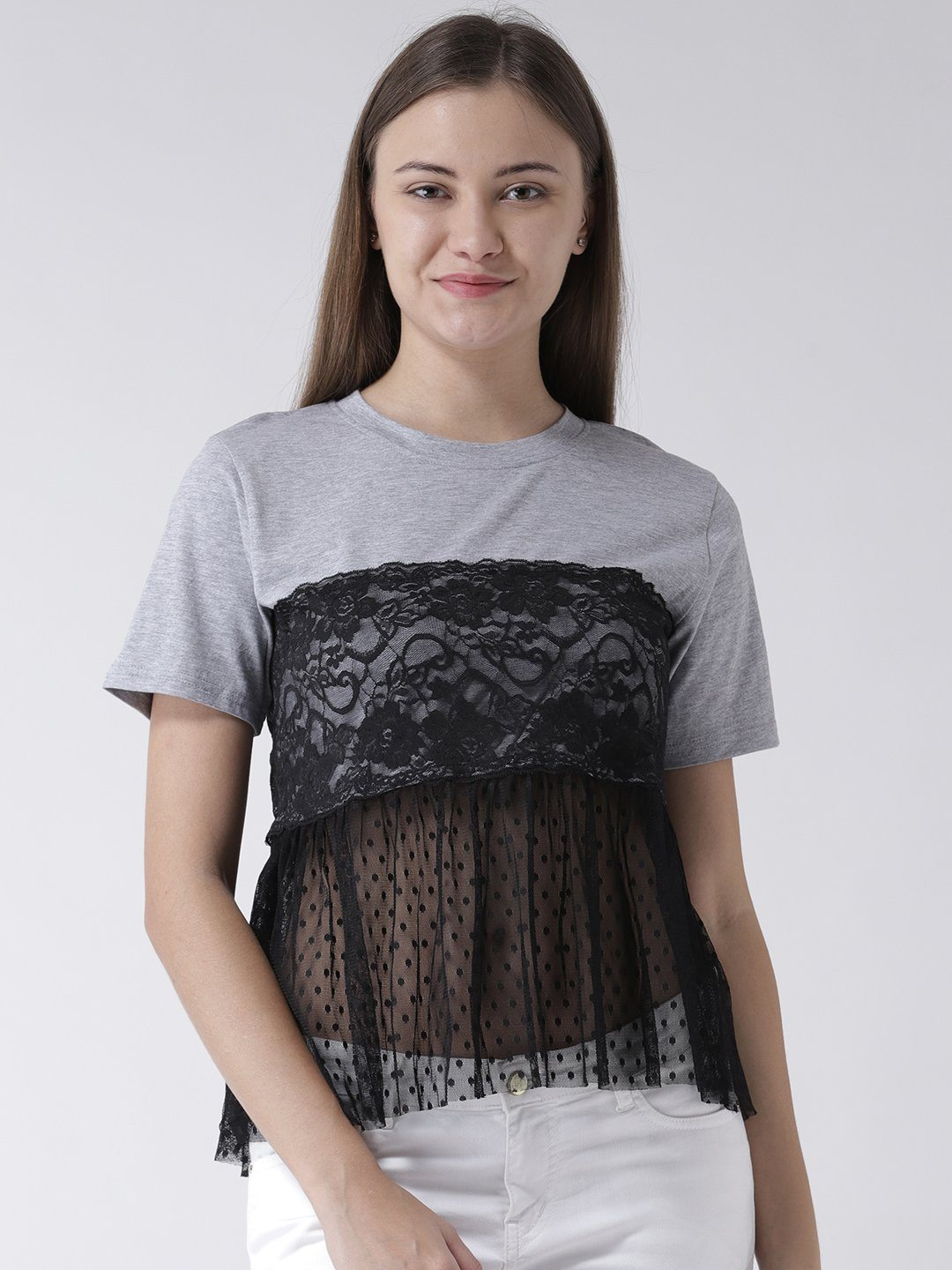 ce691446fa993 GREY BASIC TOP WITH LACE INSERT – Benoit
