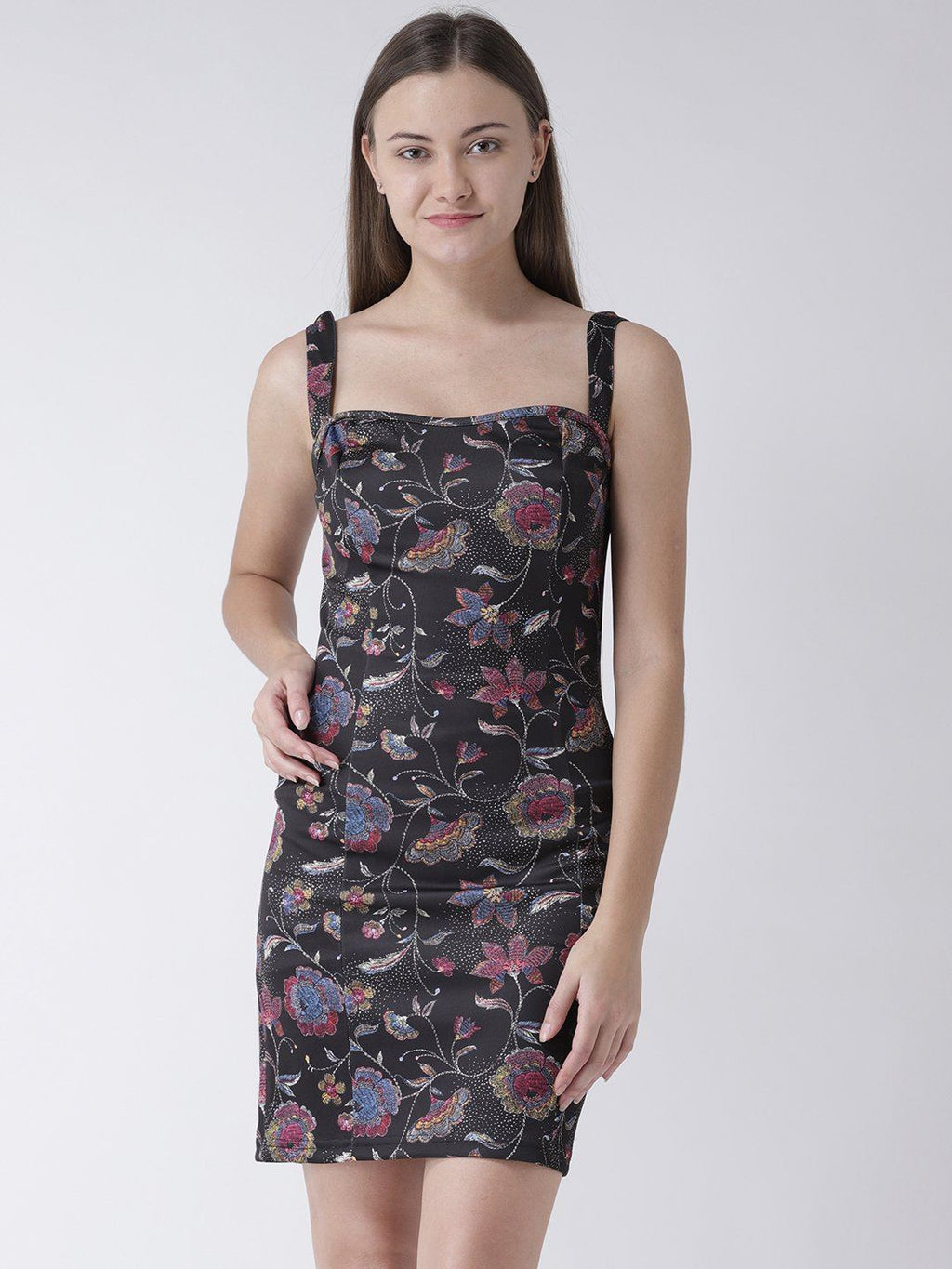 Black Floral Bodycon Dress in Scuba