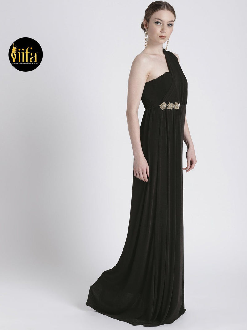 BLACK ONE SHOULDER GOWN WITH WAIST EMBELLISHMENT