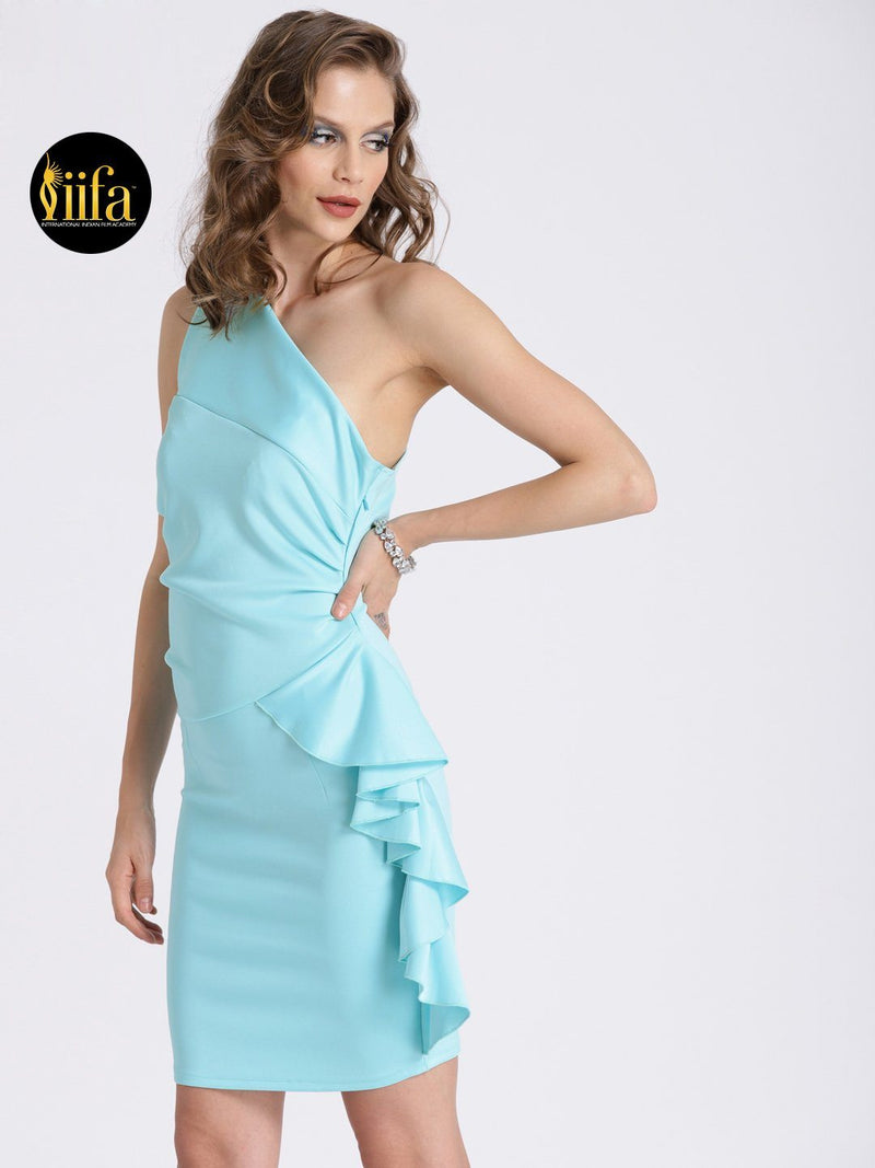 LIGHT BLUE SCUBA DRESS WITH ADDED RUFFLE