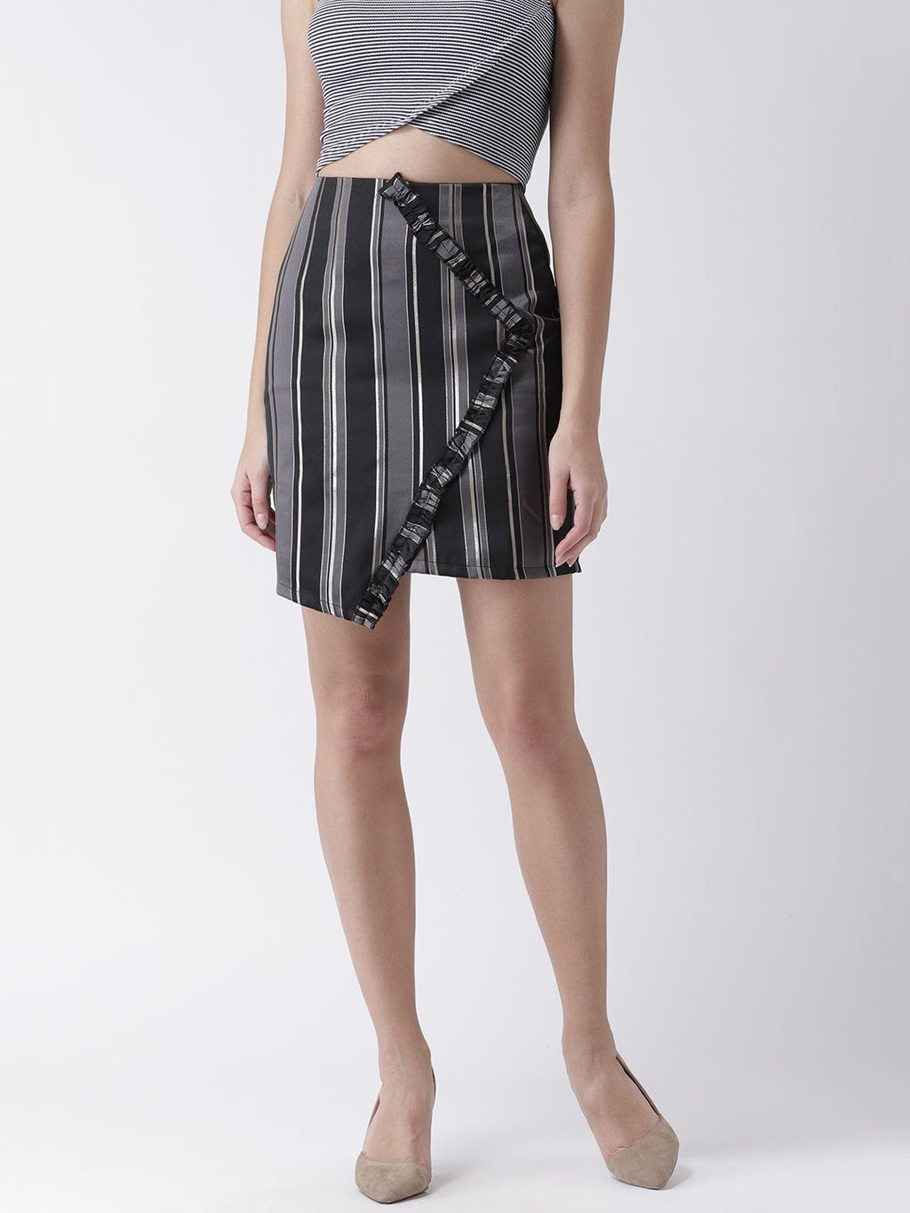 Asymmetrical Striped Skirt with Frill detail