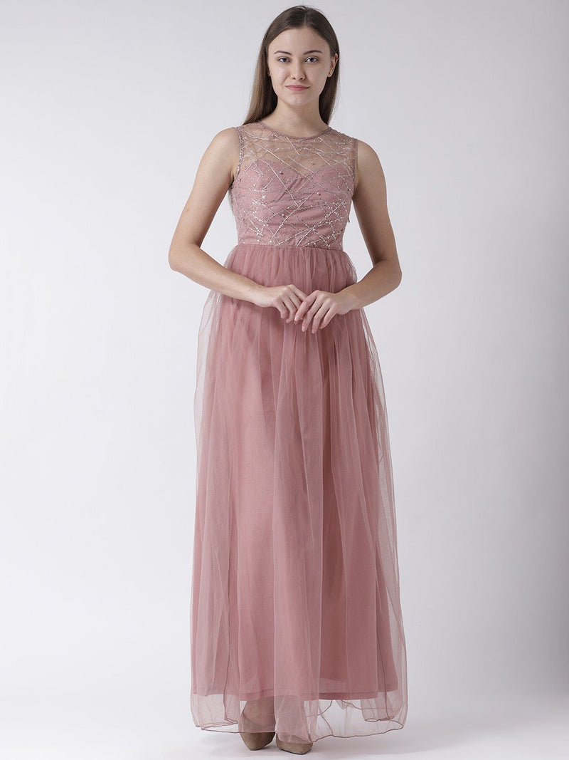 Powder Pink Maxi Dress with Embellished detail