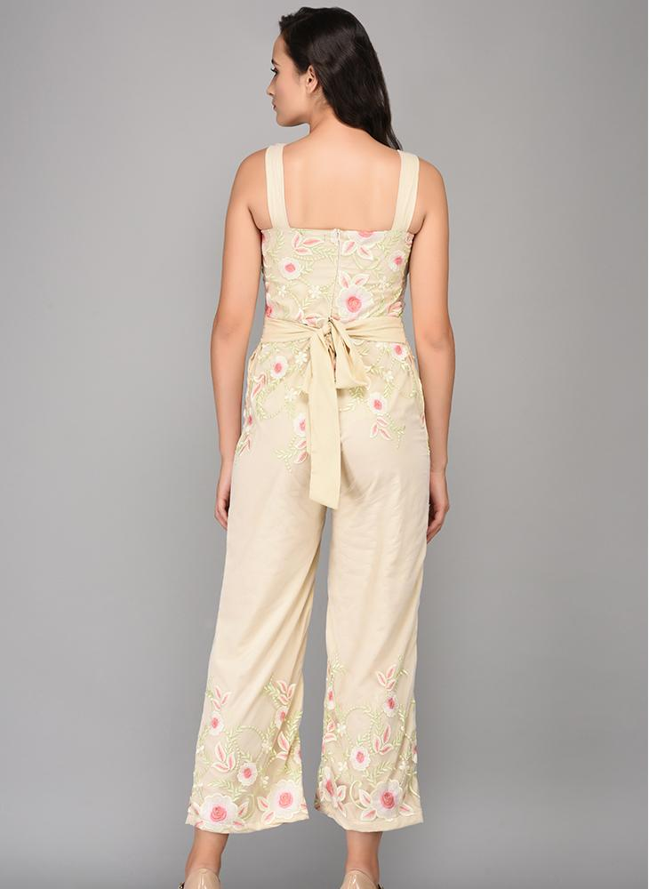 Cropped Floral Embroidered Sheer Jumpsuit