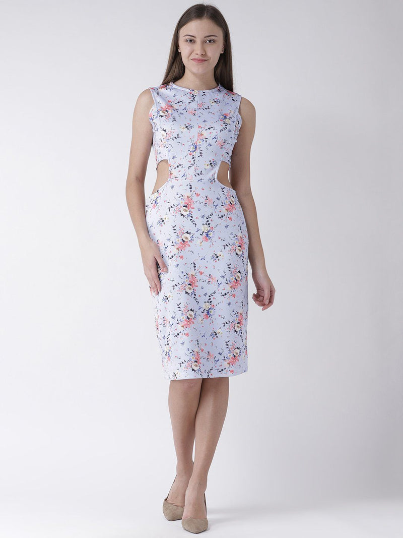Floral Printed Knee Length Scuba Dress