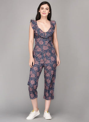 Floral Printed Culotte Jumpsuit with Frill
