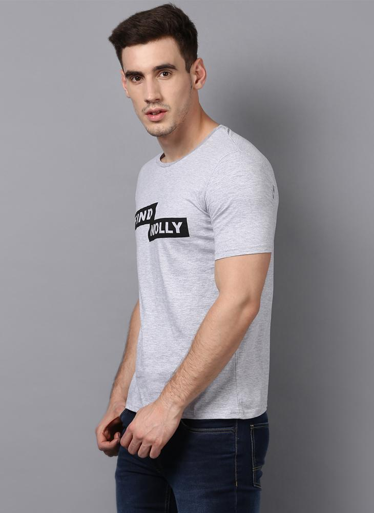 'FIND MOLLY' Printed Basic Grey T-Shirt