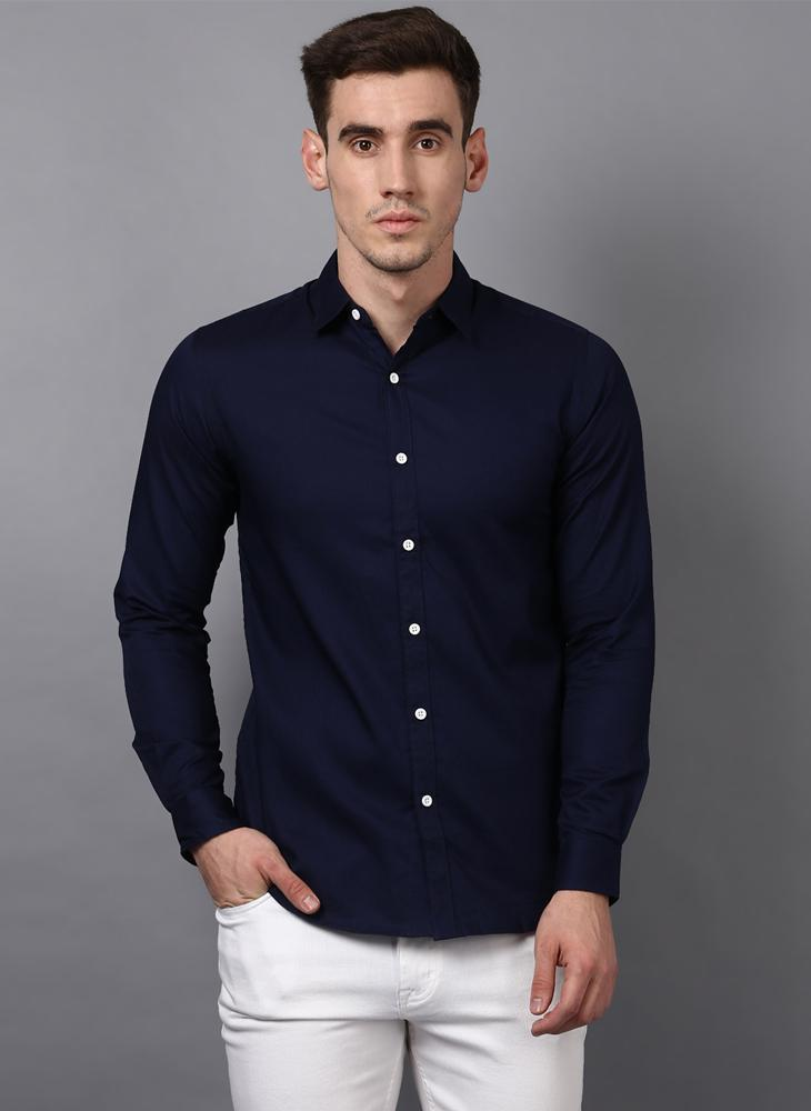Dark Navy Button Down Slim Fit Shirt