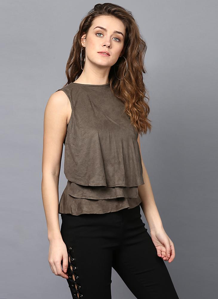 Olive Green Suede Frill Front Panel Top