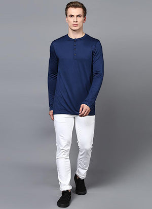 Dark Blue Full Sleeve Henley Collar T-Shirt