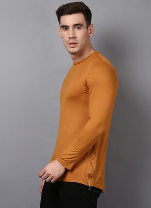 Ochre Yellow Crew Neck Long Sleeved T-shirt